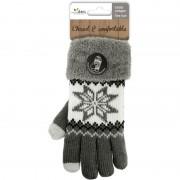 Merkloos Warme winter handschoenen grijs/Nordic met touchscreen vingers voor dames