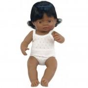 Papusa Baby hispanic fata Miniland, 38 cm