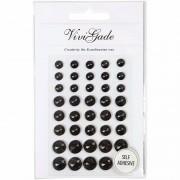 Merkloos Hobby zwarte plak parels 40 stuks