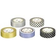MTWashi Tape MT Washi Tape MT05G004Z Cinta Adhesiva Japonés, Caja con 4 Rollos de 15mm x 10m, Colores Surtidos, Monotone