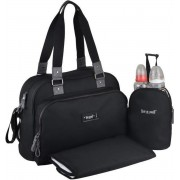 Baby aan boord - luiertas - urban klassieke zwarte tas - 2 compartimenten met brede opening met ritssluiting - 7 zakken - lunchtas - tapijt aan de