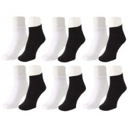 Neska Moda Men Cotton Black White 12 Pair Ankle Length Socks