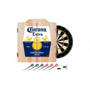 Beer Brand Wood Dart Cabinet Set with Darts and Board Corona - Label