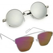 Elgator Butterfly, Round Sunglasses(Silver, Pink)