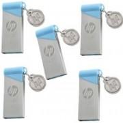 HP v215b Pack of 5 16 GB Pen Drive(Silver, Blue)