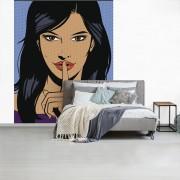 Fotobehang vinyl - Een illustratie van een vrouw met een vinger voor haar rode lippen breedte 240 cm x hoogte 300 cm - Foto print op behang (in 7 formaten beschikbaar)