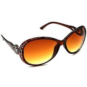 HRINKAR Men's Brown Mirrored Round Sunglasses