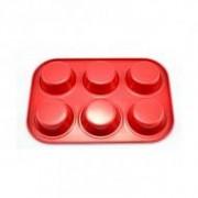 Muffinsütő kerámia bevonattal 6 db-os, piros (11836-piros)