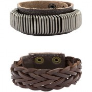 The Jewelbox Accents Braided Design 100% Genuine Handcrafted Chocolate Brown Black Wrist Band Strap Combo Pack Of 2 Bracelet Boys Men