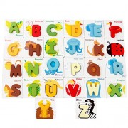 Wooden Puzzle Toy Animal Alphabet Puzzles Blocks with Colorful Letters, Play Toys Alphabet A-Z Set