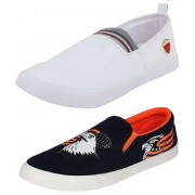 Chevit Men's Combo Pack of 2 White and Black Loafers (Casual Shoes) CB117113