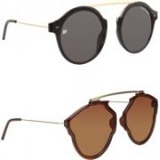 Marc Jones Round Sunglasses(Black, Brown)