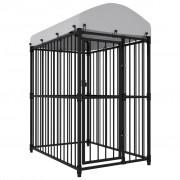 vidaXL Външна клетка за кучета с покрив, 150x100x175 см