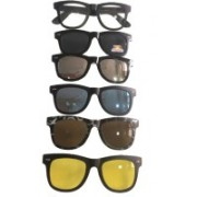 Bruzone Rectangular Sunglasses(Grey, Yellow, Brown, Blue, Silver)