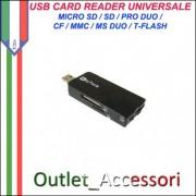 Card Reader Lettore Memory Pro Duo Usb Micro Sd CF