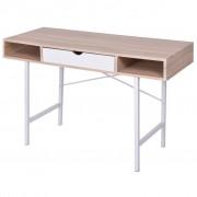 vidaXL Stôl s jednou zásuvkou, dubovo-biely
