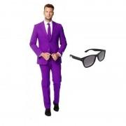 Opposuits Paars heren kostuum maat 50 (L) met gratis zonnebril