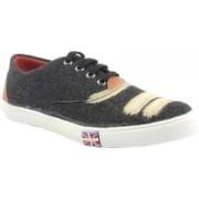 La Shades Sporty Denim Wash Derby Canvas Shoes For Men(Black)