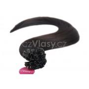 Asijské vlasy na metodu keratin odstín 1B po 20 ks Délka: 46 cm, Hmotnost: 0,5 g/pramínek, REMY kvalita