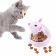 Hranitor tip jucarie interactiva cu eliberare lenta mancare pentru pisici sau alte animale de companie alb