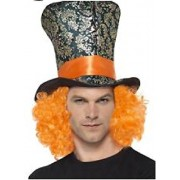 Loftus International Mad Hatters Black Top Hat w Attached Red Hair-Adult One Size Novelty Item