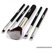 5 pcs Premium Synthetic Makeup Brush Set Cosmetics Foundation Blending Blush Eyeliner Face Powder Brush Kit (Black Silvery)