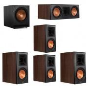Klipsch 5.1 Walnut System 2 RP-600M Bookshelf Speakers, 1 Klipsch RP-600C Center Speaker, 2 Klipsch RP-500M Surround Speakers, 1 Klipsch SPL-100 Subwoofer