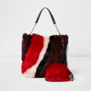River Island Womens Red faux fur slouch chain bag