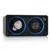 Klarstein 8LED2S Remontoir automatique 2 montres noir effet LED bleu