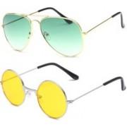 SRPM Aviator, Round Sunglasses(Green, Yellow)