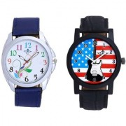 Star USA Guitar With Blue Denim Flower SCK Combo Gallery Wrist Watch