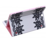 Shop4 - Samsung Galaxy Tab S2 9.7 Hoes - Book Cover Kanten Bloemen Wit