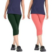 Pixie Women Super Fine Capri 190 GSM Pack of 2 (Dark Green and Baby Pink) - Free Size