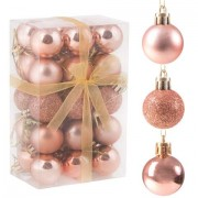 Set globuri Craciun, pentru brad, din plastic, 3cm, 30 buc, roz