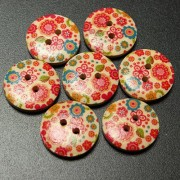 Generic 10Pcs 18Mm Round Wooden Flower Printed Button Craft Colorful Diy Sewing Crafts Clothes Decoration