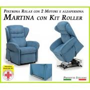 Il Benessere Poltrona Relax Martina Sfoderabile 2 Motori con Alzapersona e Kit Roller Prodotto Italiano