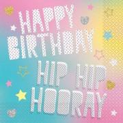 Geen 20x Papieren servetjes Happy Birthday unicorn print 33 x 33 cm