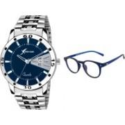 Rich Club Analog Watch, Round Sunglass Combo(Blue)