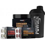 PowGen Shredder Pack - 30 Tage Fettverbrennung zur Maximierung des Workouts - Protein-Shake, 2x Fatburner + Shaker PowGen
