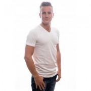 Slater T-Shirt Basic Fit V-neck white EXTRA LONG Two Pack ( art 7800)