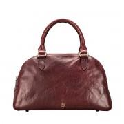 Damen Leder Handtasche in Weinrot - Schultertasche, Umhängetasche, Shopper, Henkeltasche