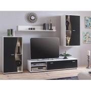 Nappali bútor, fehér/fekete, RUPOR NEW