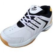 Port Men's White Twister Editon Pu badminton Shoes