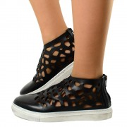 Sneakers Donna Traforate Nere in Pelle Made in Italy T: 37, 38, 40