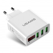 USAMS US-CC035 5V 2.4A 3-port Travel Adapter USB Wall Charger with Screen Display for iPhone Samsung etc. - EU Plug/White
