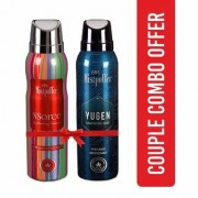 Mistpoffer NSorce Perfumed Deodorant + Mistpoffer Yugen Perfumed Deodorant Body Spray Couple Combo Offer Pack of 2 for Men Women 150 ml Each
