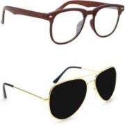 Sulit Aviator, Round, Wayfarer, Retro Square Sunglasses(Clear, Black)