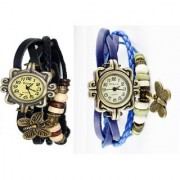 KDS Combo Of 2 Vintage Butterfly Bronze Dial Womens Watch
