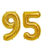 De-Ultimate Solid Golden Color 2 Digit Number (95) 3d Foil Balloon for Birthday Celebration Anniversary Parties