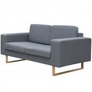 vidaXL Двуместен диван, плат, светло сив